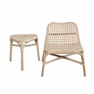 Low woven chair and side table