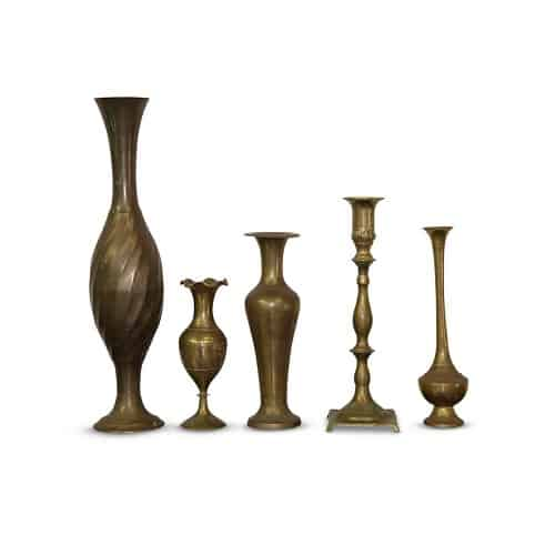 assorted brass vases