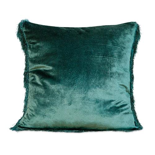 cushion green velvet fringe